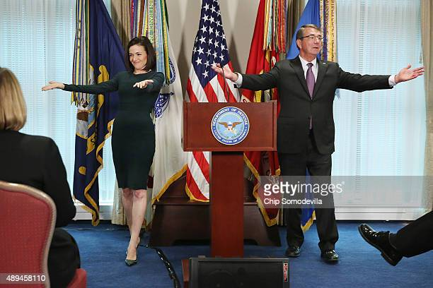 Facebook Chief Operating Officer and founder of LeanInOrg Sheryl Sandberg and US Defense Secretary Ashton Carter thank the female members of the...