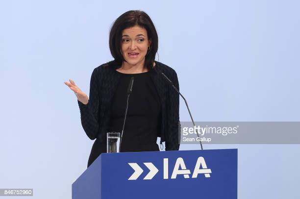 Facebook Chief Operating Officer Sheryl Sandberg speaks at the opening event at the 2017 IAA Frankfurt Auto Show on September 14 2017 in Frankfurt am...
