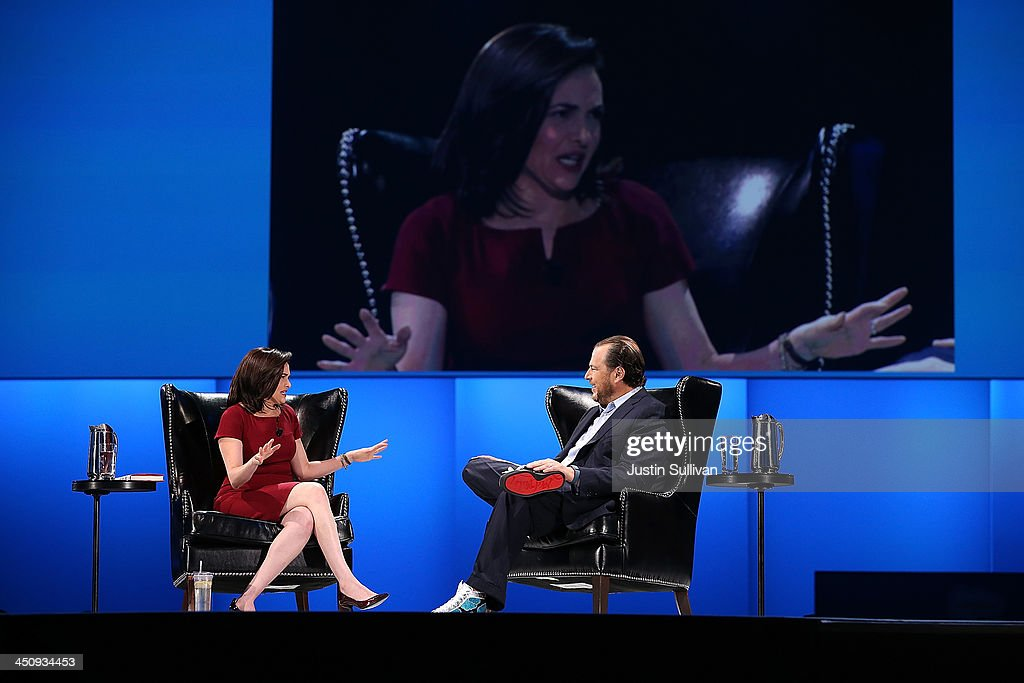 Facebook COO <a gi-track='captionPersonalityLinkClicked' href=/galleries/search?phrase=Sheryl+Sandberg&family=editorial&specificpeople=5922850 ng-click='$event.stopPropagation()'>Sheryl Sandberg</a> (L) participates in a conversation with Salesforce chairman and CEO <a gi-track='captionPersonalityLinkClicked' href=/galleries/search?phrase=Marc+Benioff&family=editorial&specificpeople=6871116 ng-click='$event.stopPropagation()'>Marc Benioff</a> (R) at the 2013 Dreamforce conference on November 20, 2013 in San Francisco, California. The annual Dreamforce conference runs through November 21.