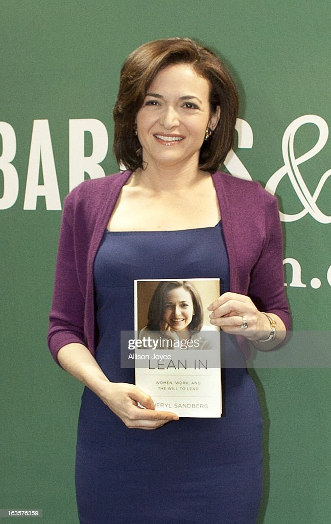 Facebook COO Sheryl Sandberg poses for a photograph at Barnes and Noble, March 12, 2013 in New York City. Sandberg is promoting her new book 'Lean In: Women, Work and the Will to Lead.'