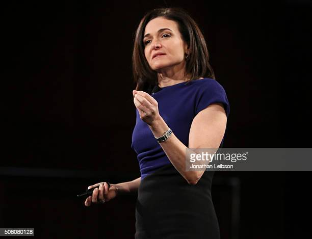 Facebook COO Sheryl Sandberg speaks on stage at the 2016 MAKERS Conference Day 2 at the Terrenea Resort on February 2 2016 in Rancho Palos Verdes...