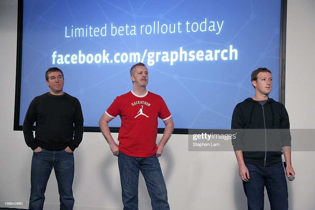 Facebook Director of Product Management Tom Stocky, Engineer Lars Rasmussen and Chief Executive <a gi-track='captionPersonalityLinkClicked' href=/galleries/search?phrase=Mark+Zuckerberg&family=editorial&specificpeople=4841191 ng-click='$event.stopPropagation()'>Mark Zuckerberg</a> introduce Graph Search features during a presentation January 15, 2013 in Menlo Park, California. Facebook announced a search function that works within the website and allows users to search content that people have shared with you or is public.