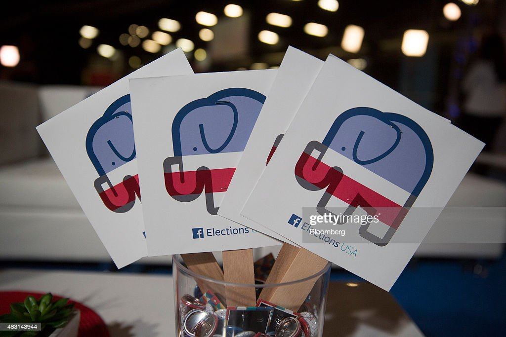 Facebook Elections USA signs sit in the Facebook Lounge ahead of the first Republican presidential debate at Quicken Loans Arena in Cleveland Ohio US...