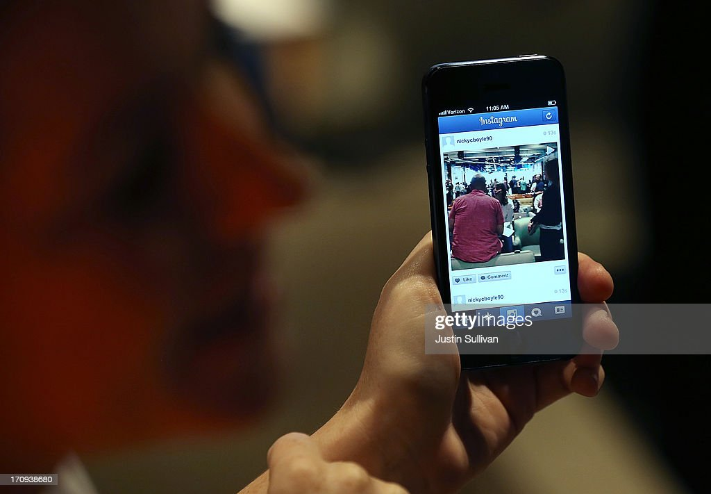 A Facebook employee demonstrates the new Instagram video option during a press event at Facebook headquarters on June 20, 2013 in Menlo Park, California. Facebook announced that its photo-sharing subsidiary Instagram will now allow users to take and share video.