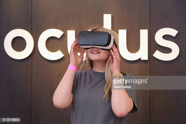 Facebook employee demonstrates use of the Oculus Gear VR virtual reality goggles at the Facebook Innovation Hub on February 24 2016 in Berlin Germany...