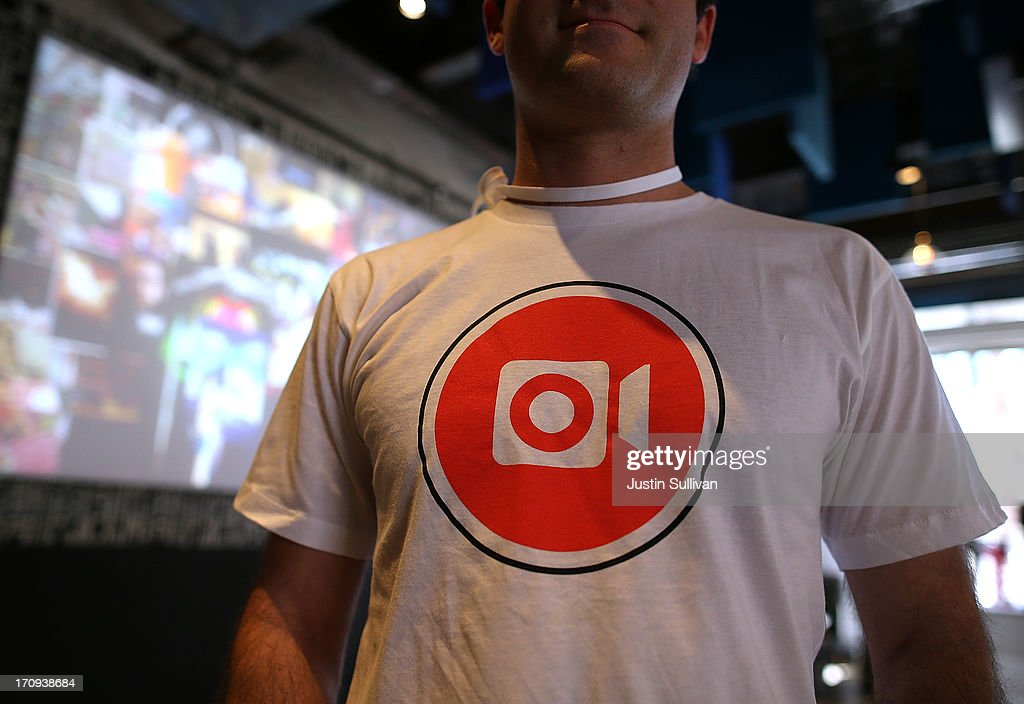 A Facebook employee wears a shirt with the logo of the new Instagram video option during a press event at Facebook headquarters on June 20, 2013 in Menlo Park, California. Facebook announced that its photo-sharing subsidiary Instagram will now allow users to take and share video.