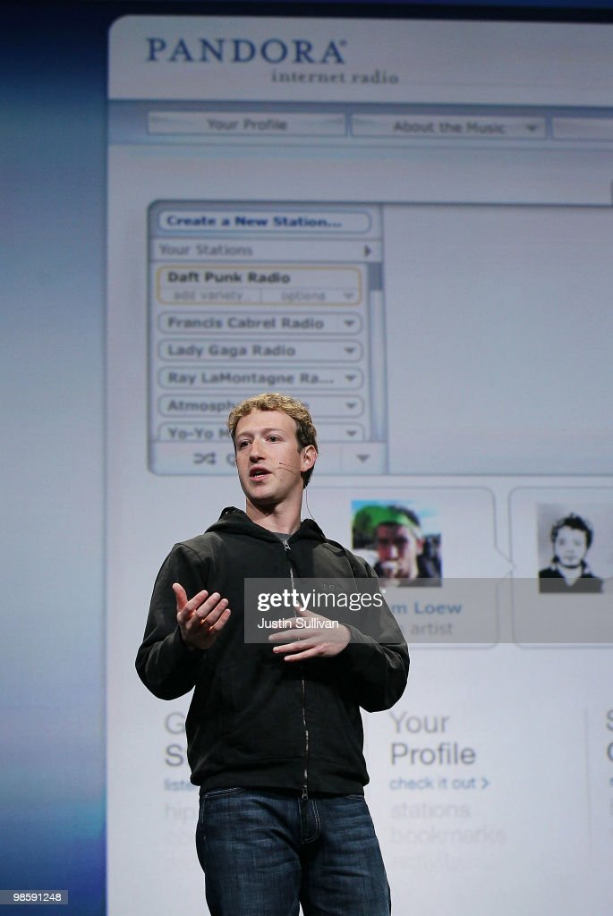 Facebook founder and CEO <a gi-track='captionPersonalityLinkClicked' href=/galleries/search?phrase=Mark+Zuckerberg&family=editorial&specificpeople=4841191 ng-click='$event.stopPropagation()'>Mark Zuckerberg</a> delivers the opening keynote address at the f8 Developer Conference April 21, 2010 in San Francisco, California. Zuckerberg kicked off the the one day conference for developers that features breakout sessions on the future of social technologies.