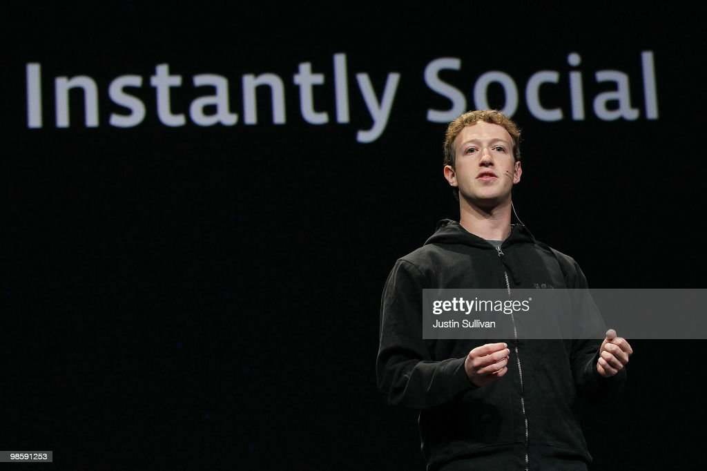 Facebook founder and CEO Mark Zuckerberg delivers the opening keynote address at the f8 Developer Conference April 21 2010 in San Francisco...