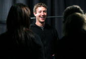 Facebook founder and CEO Mark Zuckerberg smiles during an interview at the Facebook f8 Developer Conference April 21 2010 in San Francisco California...