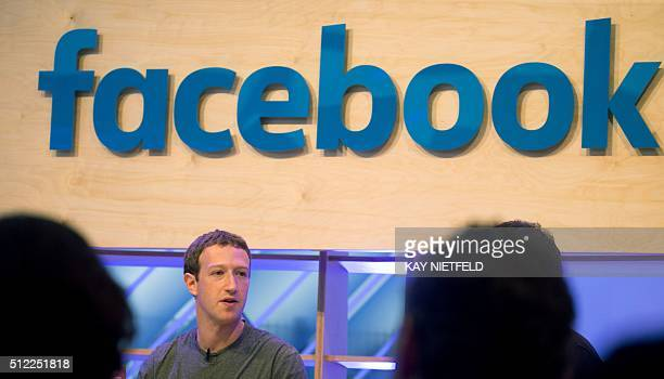 Facebook founder and chief Mark Zuckerberg speaks at the socalled 'Facebook Innovation Hub' in Berlin on February 25 2016 Facebook announced it was...