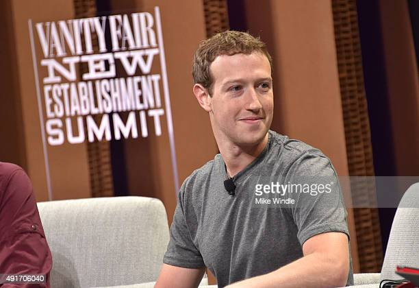 Facebook Founder Chairman and CEO Mark Zuckerberg speaks onstage during 'Now You See It—The Future of Virtual Reality' at the Vanity Fair New...
