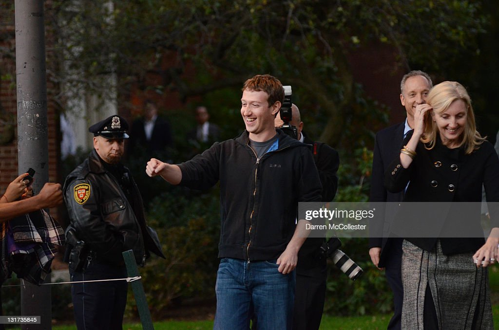 Facebook founder <a gi-track='captionPersonalityLinkClicked' href=/galleries/search?phrase=Mark+Zuckerberg&family=editorial&specificpeople=4841191 ng-click='$event.stopPropagation()'>Mark Zuckerberg</a> prepares to speak to reporters at Harvard University November 7, 2011 in Cambridge, Massachusetts. Zuckerberg visited Massachusetts Institute of Technology and Harvard to recruit students for jobs and internships with the social networking site.
