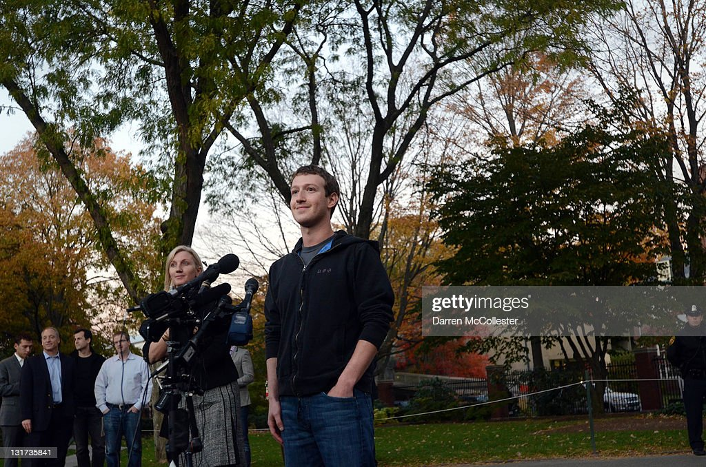 Facebook founder <a gi-track='captionPersonalityLinkClicked' href=/galleries/search?phrase=Mark+Zuckerberg&family=editorial&specificpeople=4841191 ng-click='$event.stopPropagation()'>Mark Zuckerberg</a> speaks to reporters at Harvard University November 7, 2011 in Cambridge, Massachusetts. Zuckerberg visited Massachusetts Institute of Technology and Harvard to recruit students for jobs and internships with the social networking site.