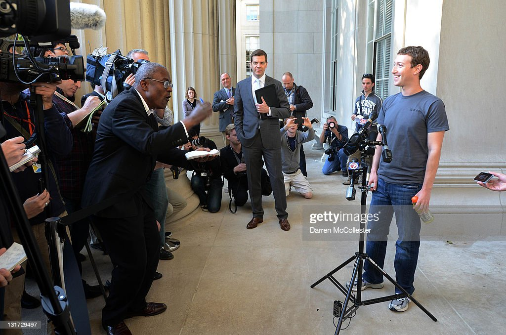 Facebook founder <a gi-track='captionPersonalityLinkClicked' href=/galleries/search?phrase=Mark+Zuckerberg&family=editorial&specificpeople=4841191 ng-click='$event.stopPropagation()'>Mark Zuckerberg</a> speaks to reporters at Massachusetts Institute of Technology November 7, 2011 in Cambridge, Massachusetts. Zuckerberg visited MIT and Harvard University to recruit students for jobs and internships with the social networking site.