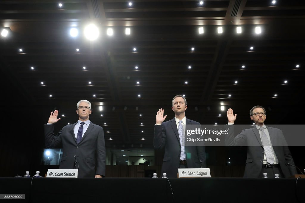 Facebook General Counsel Colin Stretch, Twitter Acting General Counsel Sean Edgett, and Google Law Enforcement and Information Security Director Richard Salgado are sworn in before the Senate Judiciary Committee's Crime and Terrorism Subcommittee in the Hart Senate Office Building on Capitol Hill October 31, 2017 in Washington, DC. The committee questioned the tech company representatives about attempts by Russian operatives to spread disinformation and purchase political ads on their platforms, and what efforts the companies plan to use to prevent similar incidents in future elections.