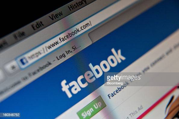 A Facebook Inc logo is displayed at the top of the login page for facebookcom on a computer screen in Tiskilwa Illinois US on Tuesday Jan 29 2013...