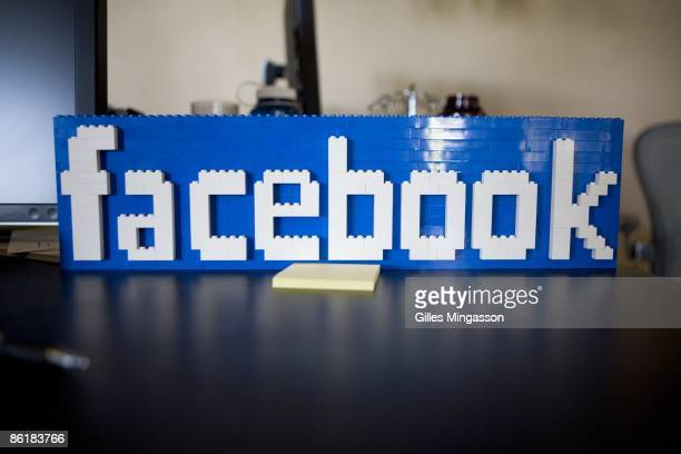 Facebook Lego sign seats on a desk at the Facebook headquarters where the atmosphere is casual and laidback in Palo Alto March 31 2009 Founded in...