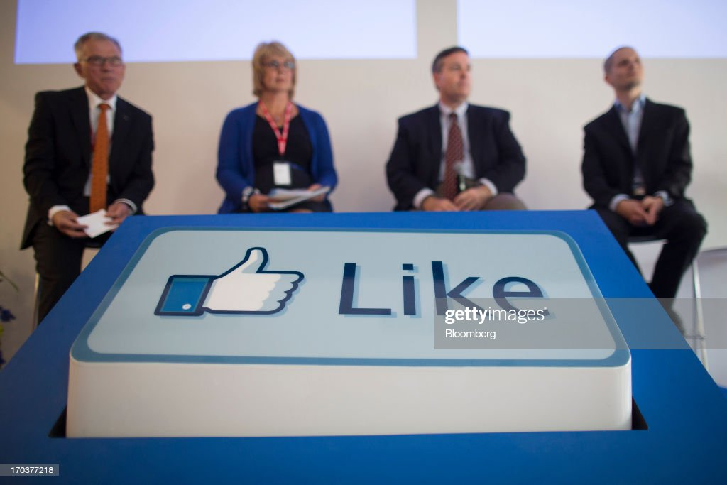 A Facebook 'Like' button sits on display in front of visitors during a news conference inside Facebook Inc.'s new data storage center near the Arctic Circle in Lulea, Sweden, on Wednesday, June 12, 2013. The data center is Facebook's first outside the U.S., poised to handle all data processing from Europe, Middle East and Africa and the server hub is largest of its kind in Europe, and most northerly of its magnitude anywhere on earth. Photographer: Simon Dawson/Bloomberg via Getty Images