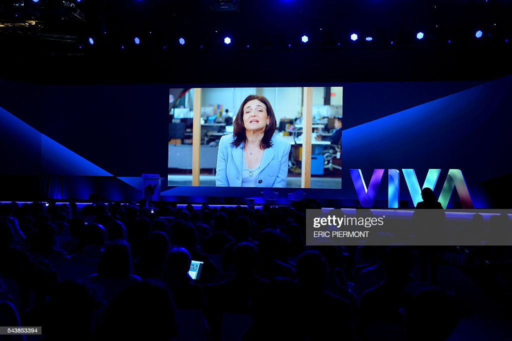 Facebook's Chief Operating Officer (COO) Sheryl Sandberg delivers a message during the first edition of the Viva technology event in Paris on June 30, 2016. The show, entitled 'Viva Technology puts France at the heart of the digital world', takes place from June 30 to July 2, 2016. / AFP / ERIC