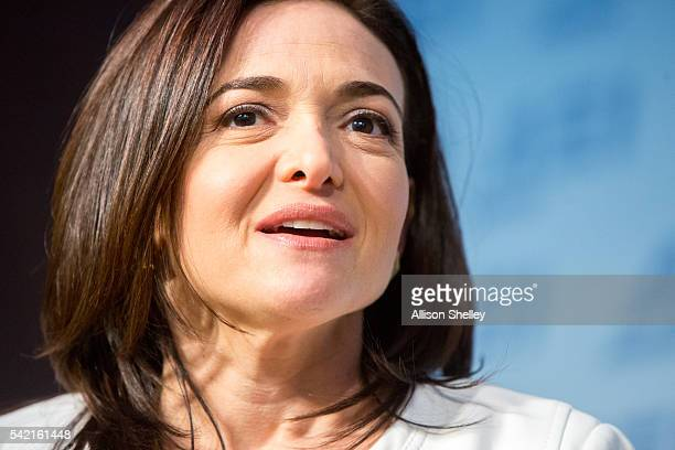 Facebook's Chief Operating Officer Sheryl Sandberg speaks with AEI president Arthur C Brooks during a public conversation on Facebook's work on...