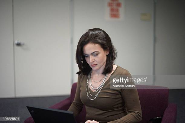 Facebook's vicepresident for global online sales and operations Sheryl Sandberg is photographed for The New Yorker on June 3 2011 at Facebook offices...