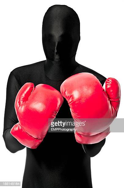 Faceless Boxer In Red Boxing Gloves
