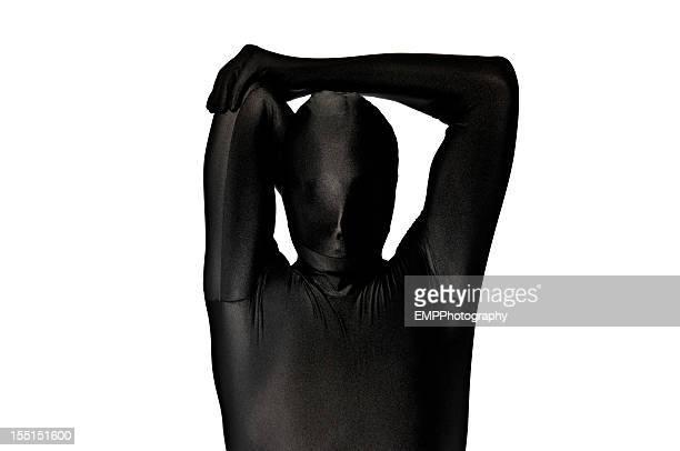 Gesicht Mann bei Overhead Triceps Stretch, isoliert auf weiss