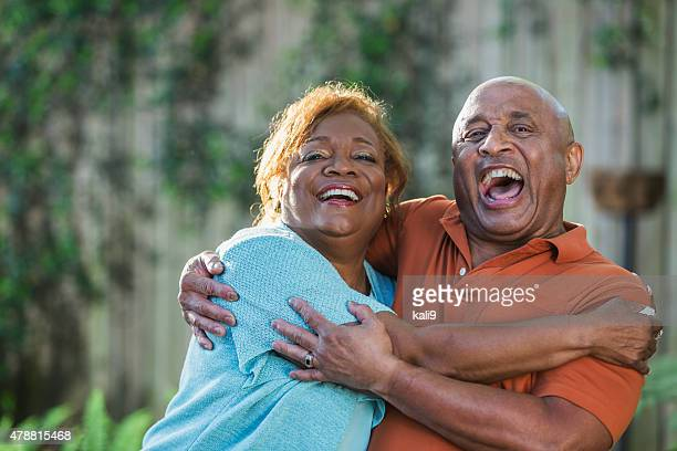 Faces of a happy senior African American couple