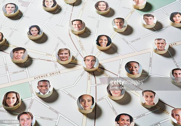 Faces on discs placed on a street map