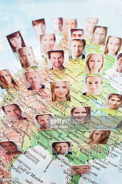 Faces over map of the United States