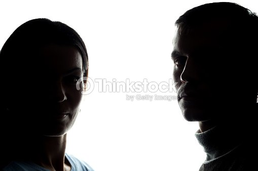 Faces women and men across from, brother and sister : Foto de stock