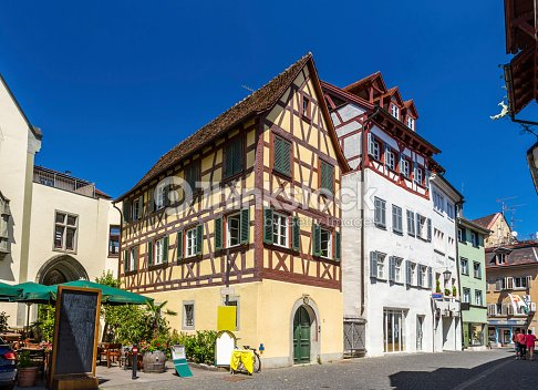 fachwerk houses in the city center of konstanz germany stock photo thinkstock. Black Bedroom Furniture Sets. Home Design Ideas
