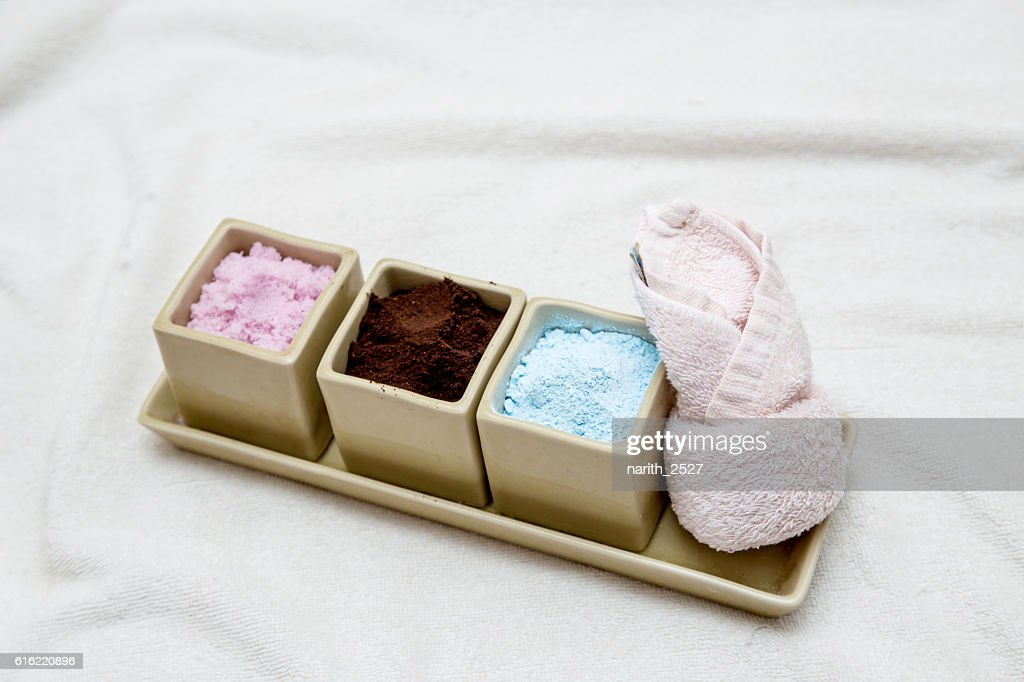 facial cream, powder with towel, spa concept : Stock Photo