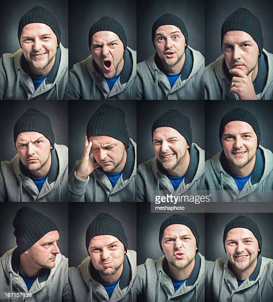 Facial Expression Set Young Man