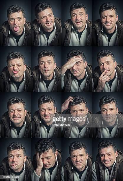 Espressione del viso Set giovane uomo