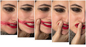 Facial expressions of an angry depressed woman as in a series of five showing her placing her thumb over her lips and smearing her red lipstick across her cheek