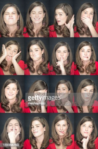 Facial expressions of young woman