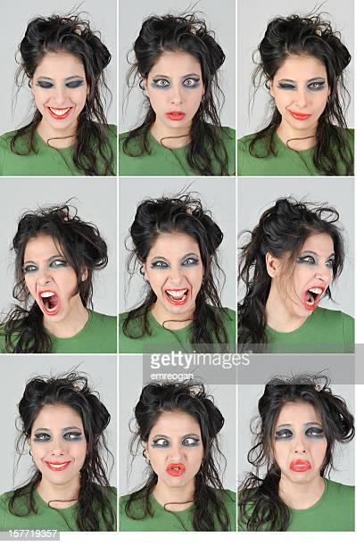 Espressioni facciali di giovane donna