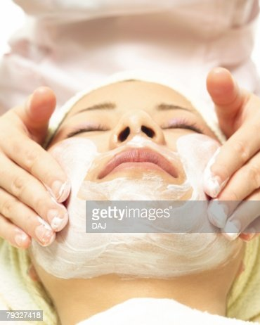 Facial Massage, High Angle View : Foto stock