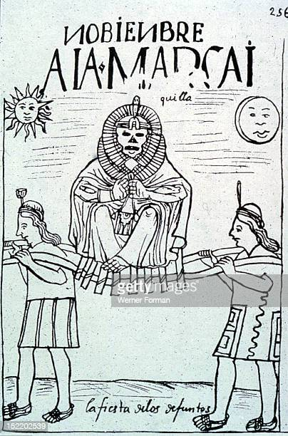 Facsimile of a drawing by Felipe Guaman Poma from his El Primer Nueva Coronica y Buen GobiernoIt is the only extant Codex from Peru that shows...