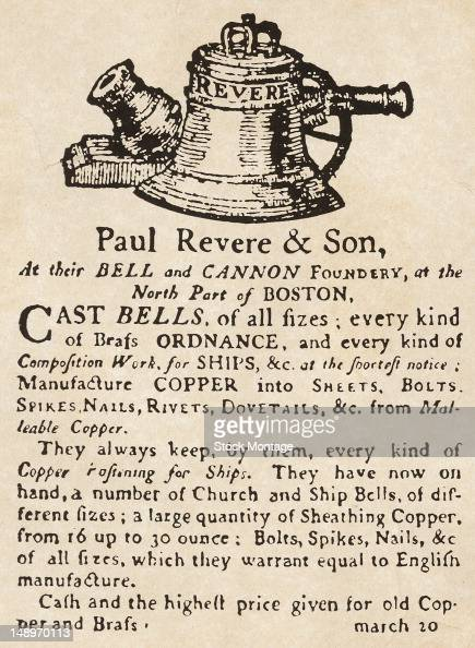 Facsimile of a small newspaper advertisement for the Paul Revere Son Bell and Canon foundry Boston Massachusetts early 1800s