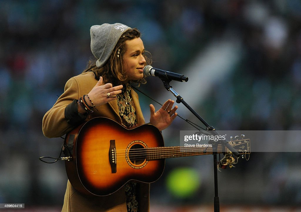 X Factor 2013 singer Luke Friend sings before the Aviva Premiership match between Harlequins and Exeter Chiefs at Twickenham Stadium on December 28, 2013 in London, England.