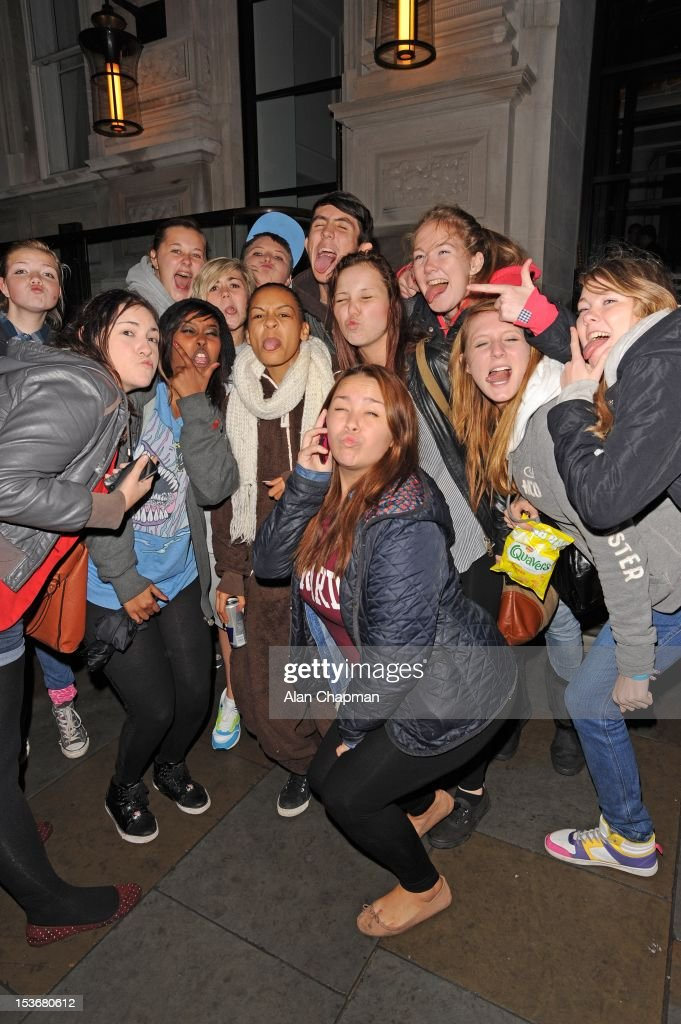 X Factor contestant Jade Ellis and fans sighting on October 8, 2012 in London, England.