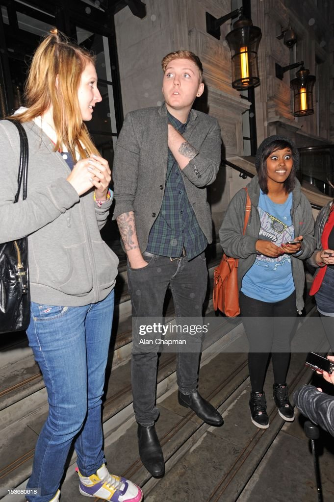 X Factor contestant James Arthur (C) and fans sighting on October 8, 2012 in London, England.