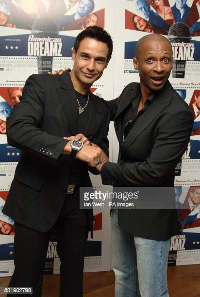 X factor contestants Chico Slimani and Andy Abraham arrive at the Gala Screening of 'American Dreamz' at the Soho Hotel central London