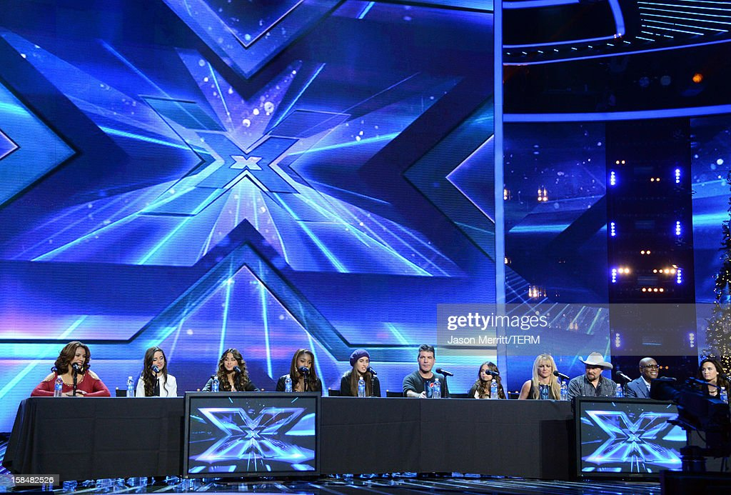 X Factor contestants Fifth Harmony, producer Simon Cowell, X Factor contestant Carly Rose Sonenclar, X Factor Judge Britney Spears, X Factor contestant Tate Stevens and X Factor Judges L.A. Reid and Demi Lovato attend Fox's 'The X Factor' season finale news conference at CBS Television City on December 17, 2012 in Los Angeles, California.