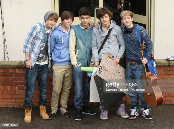 X Factor contestants One Direction Liam Payne Louis Tomlinson Zayn Malik Harry Styles and Niall Horan arrive for rehearsals at Fountain Studios...