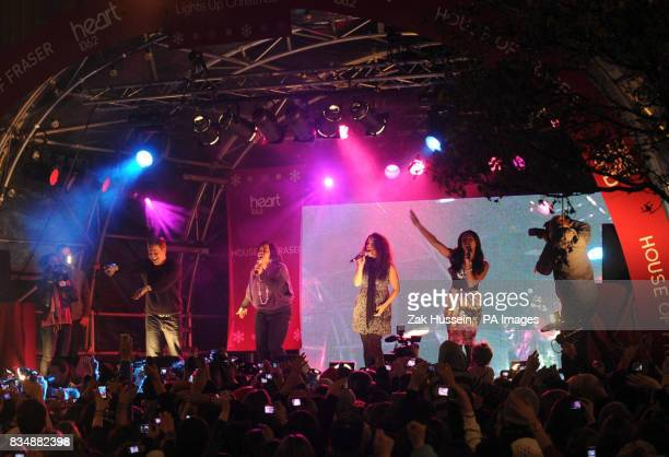 X Factor contestants perform prior to Sugababes switching on the Oxford Street Christmas Lights outside House of Fraser Oxford Street central London