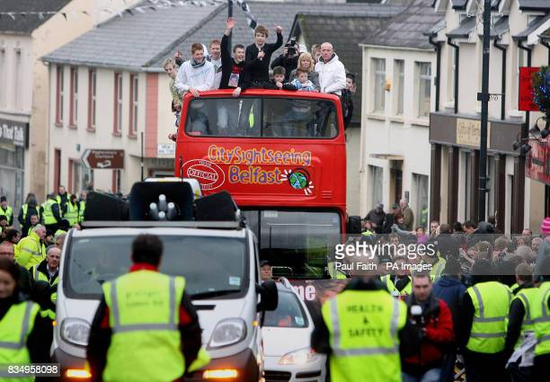 X Factor finalist Eoghan Quigg makes a triumphant opentop bus return to his home town Dungiven in Co Londonderry