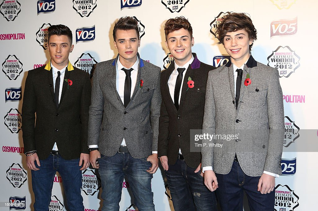 X Factor finalists Jamie Hamblett, Josh Cuthbert, Jaymi Hensley and George Shelly of Union J attend the Cosmopolitan Ultimate Woman of the Year awards at Victoria & Albert Museum on October 30, 2012 in London, England.
